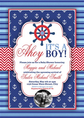 graphic relating to Nautical Baby Shower Invitations Printable referred to as Printable Ahoy Its a Boy Nautical Little one Shower Invites
