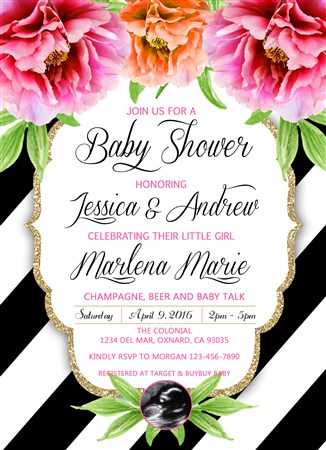 Black White Stripe Peony Flower Baby Shower Invitations Ultrasound