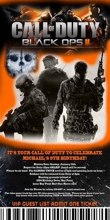 Printable call of duty ticket birthday party invitations filmwisefo