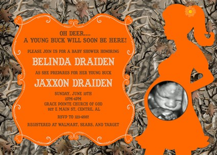#Camo_01 Deer Buck Hunting Camo Baby Shower Invitations Orange Mossy Oak