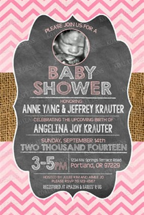 Pink chevron chalkboard baby girl shower invitations ultrasound rusticg04 pink chevron chalkboard baby girl shower invitations with ultrasound photo filmwisefo