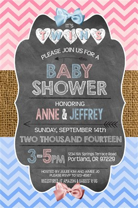 rustict_01 printable chalkboard twins baby shower invitations pink blue rustic