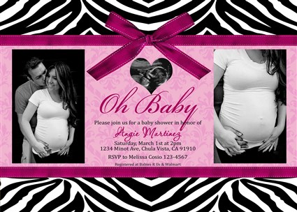 Hot pink zebra baby shower invitations couples photo baby shower zebrag05 hot pink zebra baby shower invitations filmwisefo