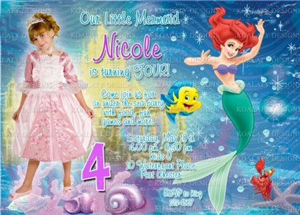 Ariel The Little Mermaid Birthday Invitations