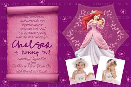Ariel Birthday Invitations With Purple Princess Scroll
