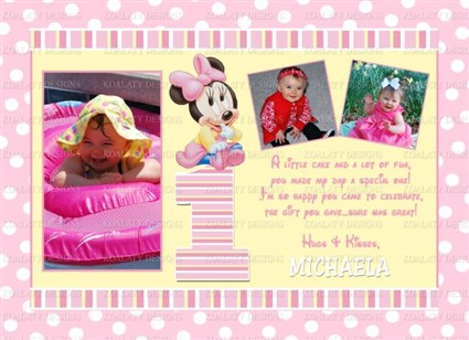 Printable Minnie Mouse 1st Birthday Thank You Cards – First Birthday Thank You Cards