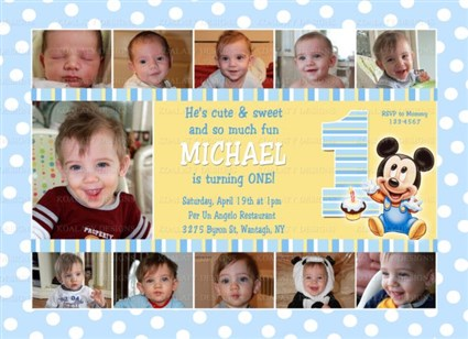 Mickey Mouse Birthday Invitations – Baby Mickey First Birthday Invitations