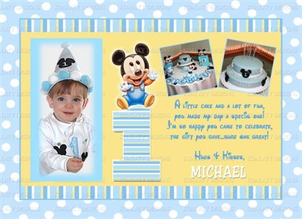 Printable Mickey Mouse 1st Birthday Thank You Cards Mickey Mouse