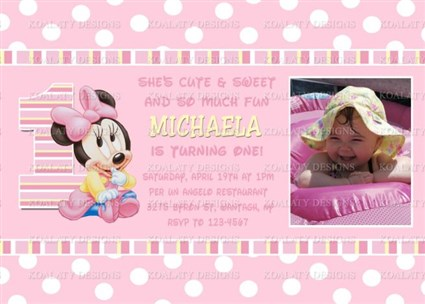 Printable baby minnie mouse first birthday photo invitations mouseg01 printable baby minnie mouse first birthday photo invitations filmwisefo