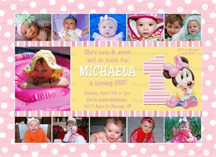 Minnie mouse birthday invitations one year photo collage for 1st mouseg04 minnie mouse birthday invitations one year photo collage for 1st birthday party filmwisefo