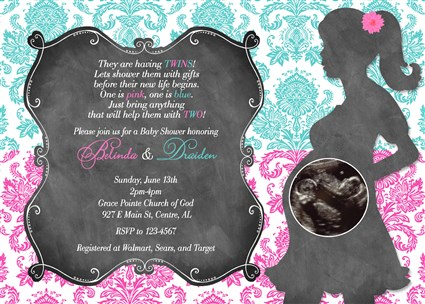 Hot pink turquoise damask twins baby shower invitations twins damask09 hot pink turquoise damask baby shower invitations twins boy girl filmwisefo