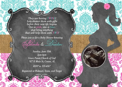 Girl boy twins rustic baby shower invitations twins rustic country damask10 girl boy twins baby shower invitations damask chalkboard burlap filmwisefo