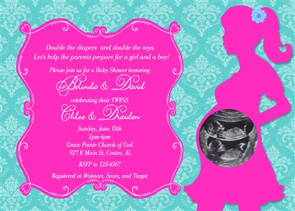 Damask print baby shower invitations for twins boy girl twins baby damask07 damask print baby shower invitations boy girl twins hot pink turquoise filmwisefo