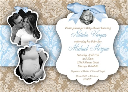 burlapboy05 burlap lace and bow boy baby shower invitations with couples photo