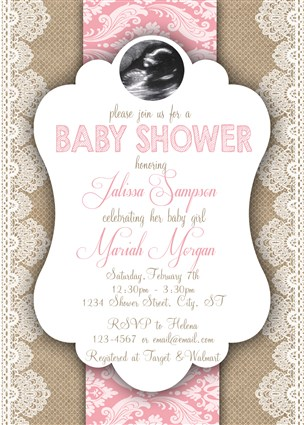Lace Burlap Pink Baby Girl Shower Invitations Country Lace Pink