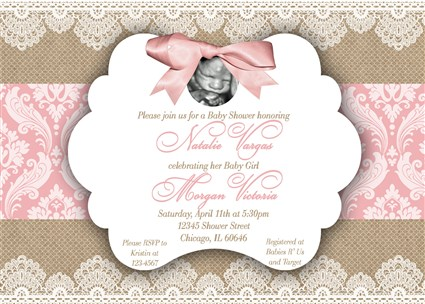 pram browse vintage girl invitation invite invitations baby golden shower pink