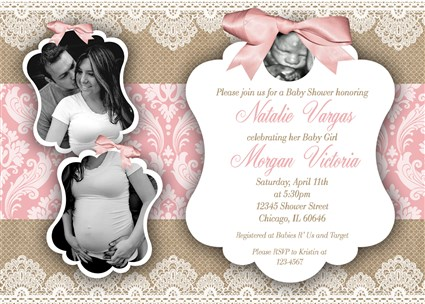 Vintage lace and bow baby girl shower invitations rustic vintage burlapgirl04 vintage lace and bow baby girl shower invitations with couples photo filmwisefo