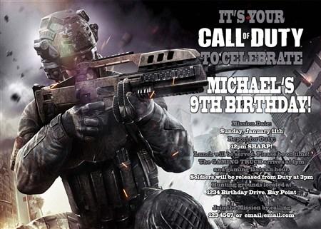 Duty Video Birthday Invitations