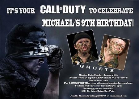 Call of duty ghosts birthday invitations with photos filmwisefo