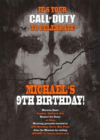 Call of duty skull birthday invitations filmwisefo