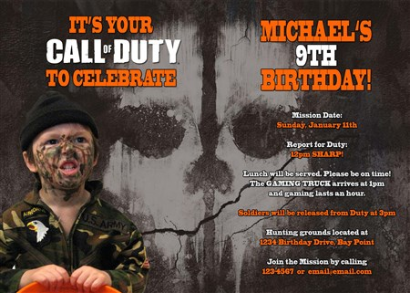 Printable call of duty birthday invitations with photo filmwisefo