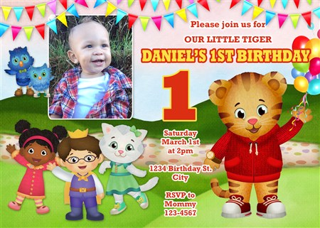 Daniel The Tiger Birthday Party Invitations