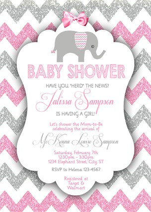 Printable Girl Elephant Baby Shower Invitations Pink Gray Glitter