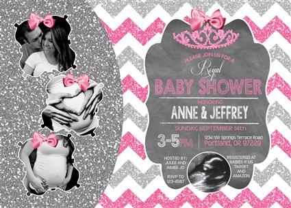 chevron print princess baby shower invitations glitter princess
