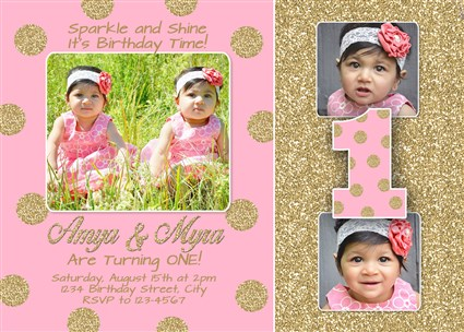 Pink Gold Glitter Twins First Birthday Invitations Polka Dots – Twin 1st Birthday Invitations