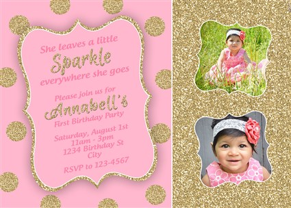 Pink Gold Polka Dot First Birthday Invitations – Pink 1st Birthday Invitations