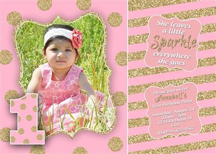 BlushGlitter 02 Blush Gold Glitter 1st Birthday Party Invitations