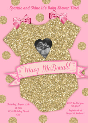 Pink Gold Glitter Onesie Girl Baby Shower Invitations Onesie Baby