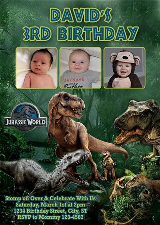 Jurassic 03 Printable World Birthday Invitations With Multiple Photos