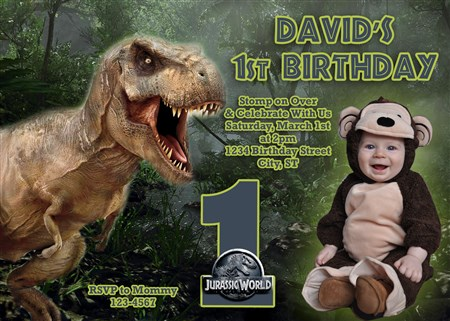 Jurassic 06 World Birthday Invitations With T Rex Dinosaurs