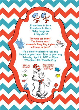 Printable Dr Seuss Baby Shower Invitations Chevron Dr Seuss Baby