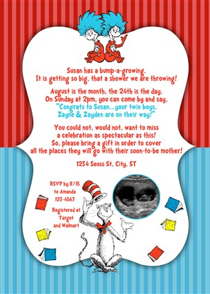 Dr Seuss Baby Shower Invitations for Twins Dr Seuss Twins Baby