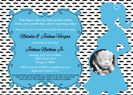 #Mustache_04 Little Man Preppy Mustache Themed Baby Shower Invitations