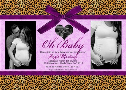 Leopard Cheetah Girls Baby Shower Invitations Photo Baby Shower