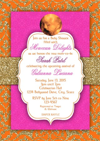 Moroccan Middle Eastern Baby Shower Invitations Bollywood Baby