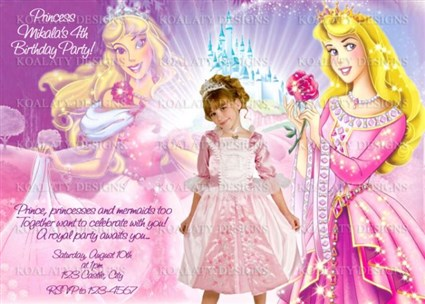 Princess Aurora Birthday Party Invitations