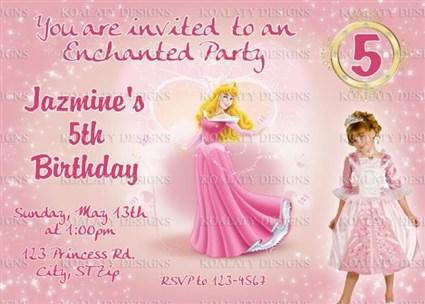 Princess Aurora Sleeping Beauty Birthday Party Invitations