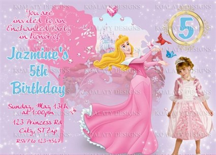 Princess Aurora Photo Birthday Party Invitations