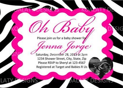Printable zebra print girl baby shower invitations ultrasound photo filmwisefo