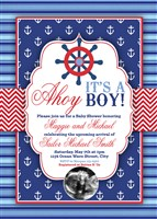 Printable Ahoy It's a Boy Nautical Baby Shower Invitations Ultrasound Photo