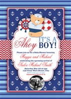 Ahoy It's a Boy Nautical Baby Shower Invitations Ultrasound Photo