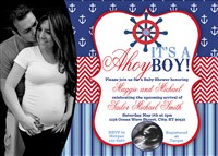 Printable Nautical Baby Shower Invitations Couples Ultrasound Photo