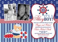 Nautical Boy Baby Shower Invitations Anchor Bear Boat
