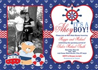 Printable Nautical Anchor Baby Shower Invitations with photos