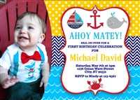 Printable Ahoy Matey Birthday Party Invitations with Photo