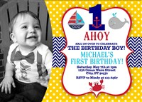 Ahoy Matey First Birthday Party Invitations with Photo